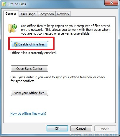 Disable Offline Files in Windows 7