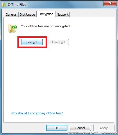 Encrypt Offline Files in Windows 7