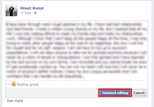 Facebook Update Released with status editing options