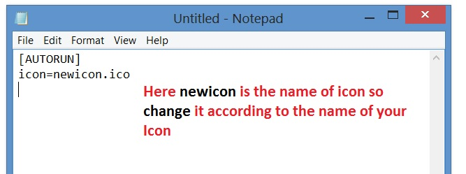 How to change hard disk icons using notepad