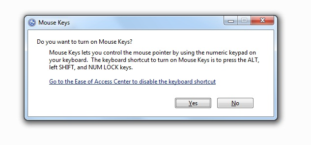 Use Keyboard as Mouse - Step 1