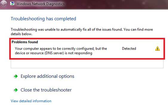 How to correct dns server error