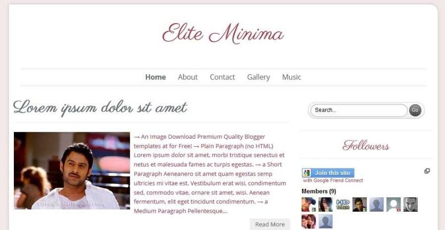 Best FREE Responsive Templates for Blogger - Elite Minima