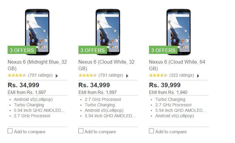 Buy Google Nexus 6 Discounted Price