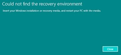 Windows Could not Find the Recovery Environment FIXED