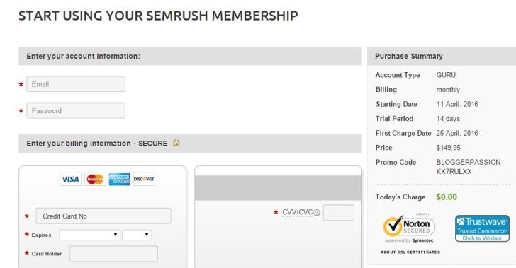 SEMrush Guru Account FREE 14 Days
