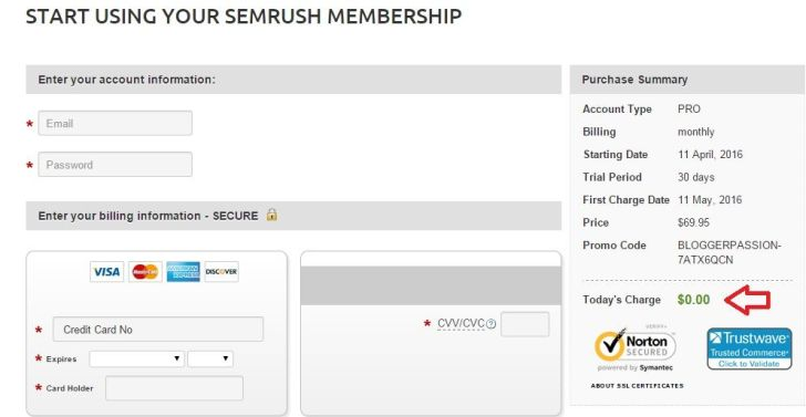 SEMrush PRO Account FREE 30 Days
