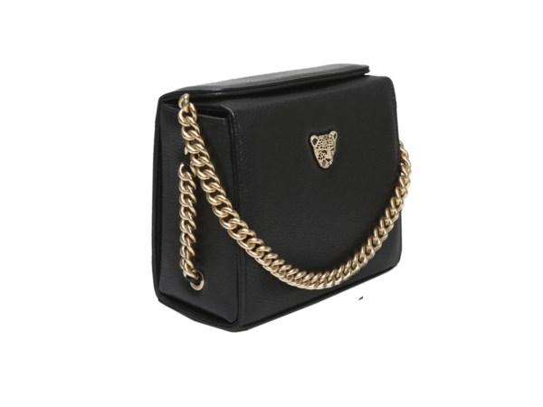Black leather boxy bag mini21