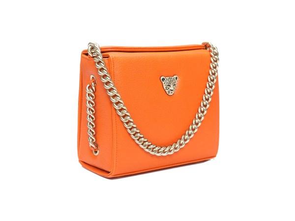 Orange leather mini boxy bag