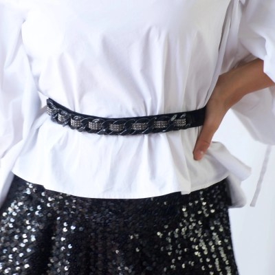 Black Velvet Belt with Dark Green crystals