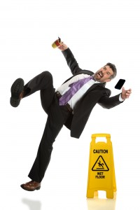 Orange County Slip-and-Fall Lawyer - man falling on wet floor