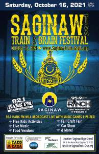 Saginaw Train and Grain Festival on Saturday, October 16, 2021, at Saginaw High School. Russell Feed & Supply is glad to be a part of this special event.