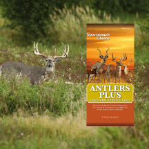 Sportsman's Choice Antlers Plus Deer & Exotics is now at Russell Feed & Supply! Designed to be fed to whitetail deer and a variety of exotic species as a supplement to their natural forage and habitat.