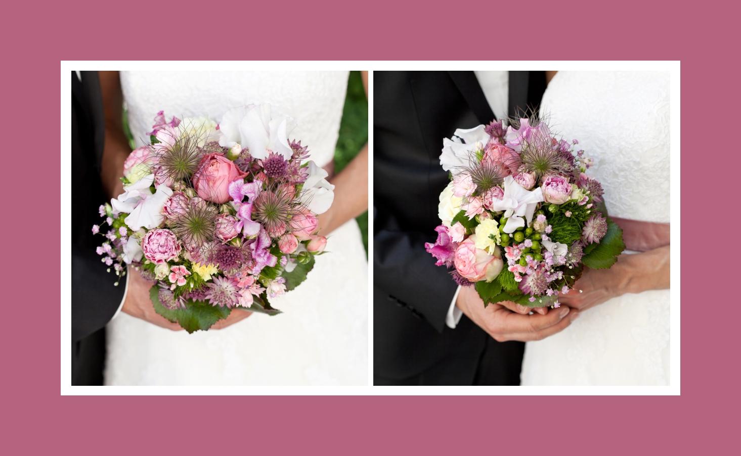 Gemischter Brautstrau in Wei und Rosa