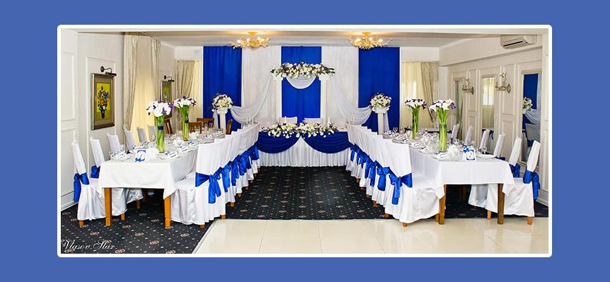 Tischdeko fr Hochzeit in Blau