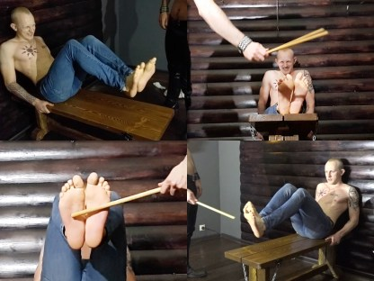 Boy gets the bastinado on his bare feets
