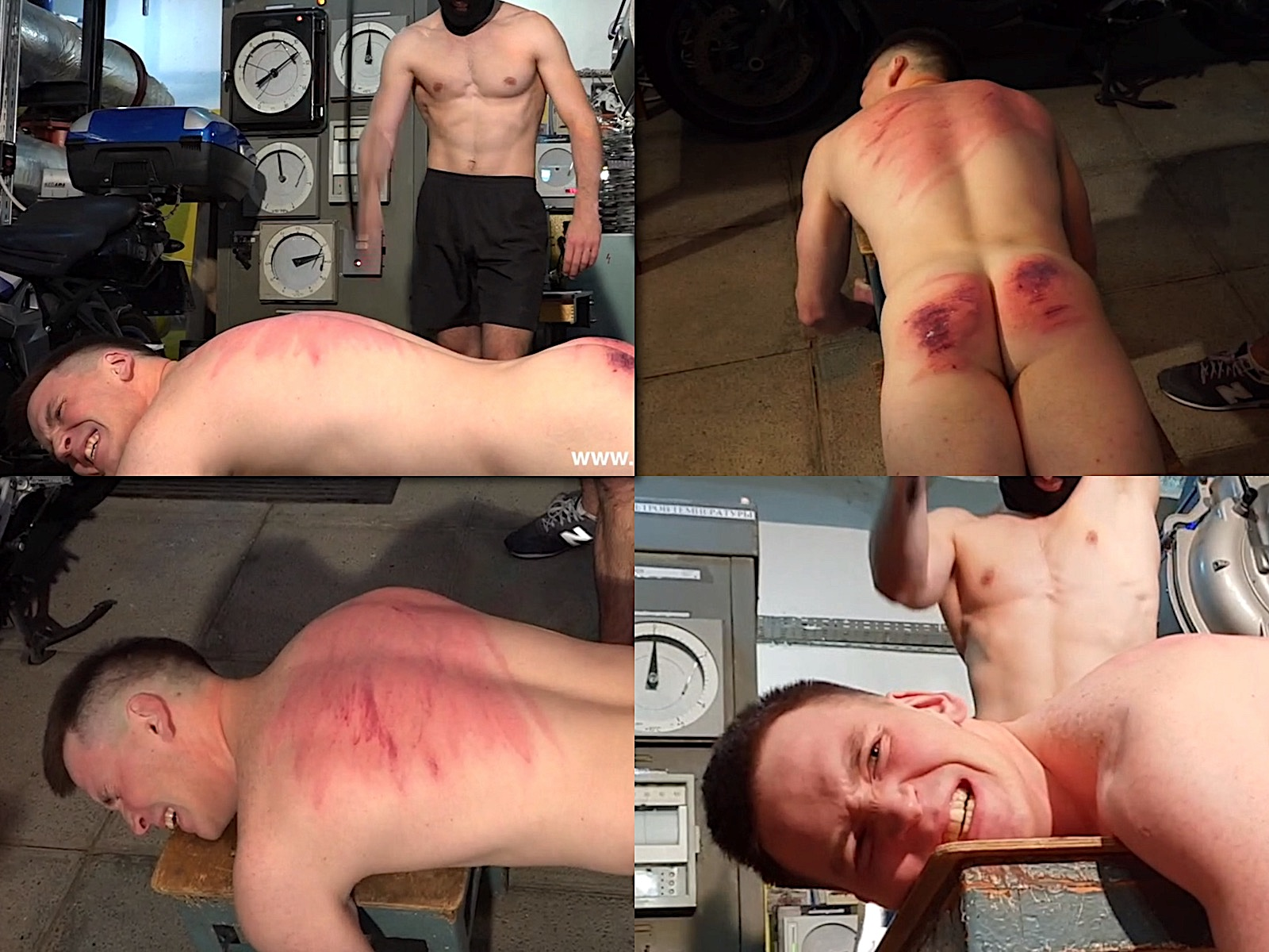 Helpless naked flogged muscle man