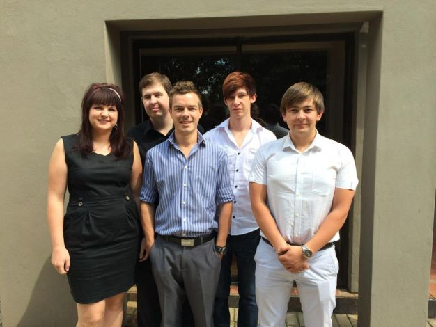 From left to right front: Marietha du Plessis, Antonie Potgieter and Eugene Burger. Back: Danie Flemming and Rohan Jansen van Vuuren