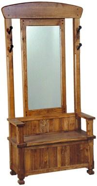 Rustic Furniture - Rustic Oak & Slate Hall Tree with ...