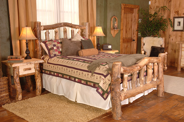 Rustic Furniture  Rustic Aspen Log Silver Creek Cali King Bed