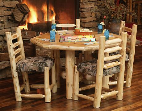 Octagon Cedar Log Rec Table  Rustic Furniture Mall by Timber Creek