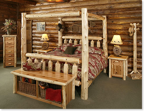 Timberland Canopy Bed  Rustic Furniture Mall by Timber Creek