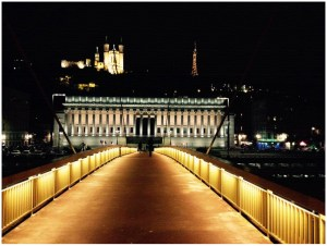 Lione by night Francia Ponte Lione
