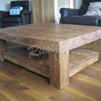 Chunky 4-Leg Coffee Table with Shelf - Rustic Oak