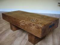 2 Beam Coffee Table with Rustic Bolts - Rustic Oak