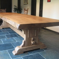 Oak Kitchen Table Spotlights Rustic Bespoke Refectory Waney Edges Edged Dining