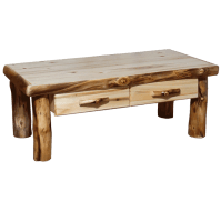 Aspen Log Square Coffee Table with Drawer | Rustic Log ...
