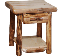 Aspen Log End Table with Drawer   Rustic Log Furniture of Utah