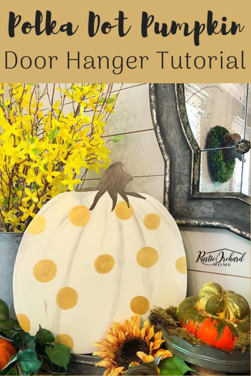 This Pumpkin Door Hanger is the perfect DIY Home Decor project for your fall farmhouse decor! Get a full tutorial from Tammy as she used Dixie Belle Chalk Paint to create this cute DIY project on a budget.#Rusticorchardhome #farmhousedecorating #dixiebellepaint #fallfarmhouse #fallcraft #DIYhomedecor