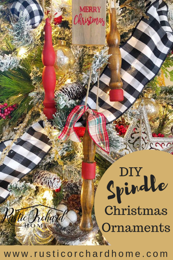 Want to know how to make Spindle Christmas Ornaments using Dixie Belle Paint? This video tutorial will show you all the steps for this adorable Christmas Craft DIY! #rusticorchardhome #dixiebellepaint #christmasdecor #christmasornaments #spindles