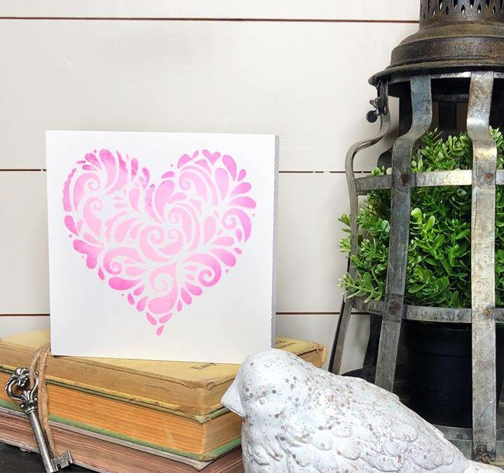 This Valentine's Day Heart Stencil Craft is super easy to make with Dixie Belle Chalk Paint! This is Valentine's Decor for your home at it's best! #rusticorchardhome #valenetinesday #homedecorDIY #valentinesdaycraft #valentinesdaydecor #homedecorcraft