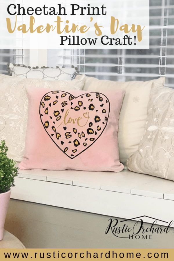 Create a Cheetah Print Valentine's Day Pillow to dress up any room with this easy DIY project. This Valentine's Day craft is so much fun & EASY! #rusticorchardhome #chalkcouture #dixiebelle #valentinesday #valentinesdaycraft