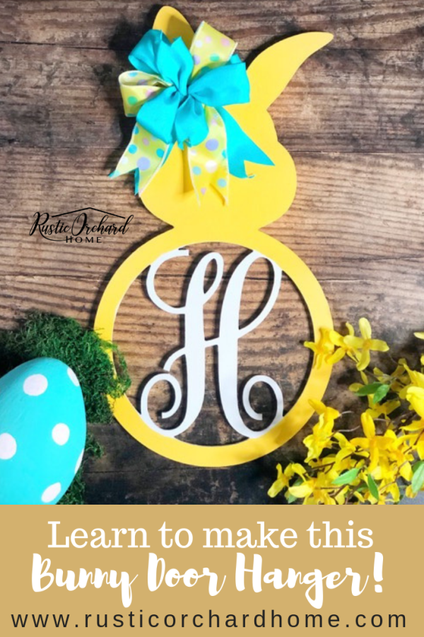 This Bunny Door Hanger craft is a Spring Farmhouse Home Decor DIY must-have! All of Tammy's tutorials make Easter decorations for the home so easy to make! #rusticorchardhome #springfarmhousehomedecordiy #easterdecorations #easterdecor #springdecor