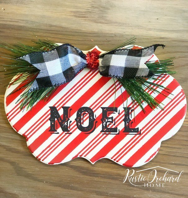 This Dollar General Christmas Craft idea is the perfect gift idea and farmhouse home decor idea for the holidays! #rusticorchardhome #chalkoouture #chalkcouturechristmas #christmasgiftdiy #christmasfarmhousehomedecor