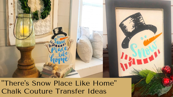 Easy winter home decor ideas using snowman transfer from Chalk Couture. #winterhomedecor #winterfarmhousedecor #chalkcouture #snowmancraft #diyhomedecor