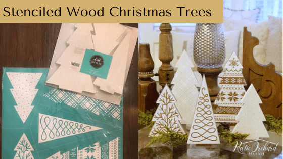 Stenciled Wood Christmas Trees