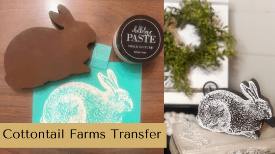 Use the Cottontail Farms Transfer from Chalk Couture to make Spring Farmhouse Decor and adorable Easter crafts. #rusticorchardhome #eastercraft #springfarmhousedecor #springdecor #easterDIY