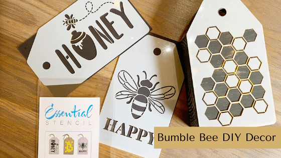 This Bumble Bee DIY Decor idea is perfect for all of your spring and summer farmhouse vignettes. #rusticorchardhome #bumblebeedecor #beedecor #tieredtraydecor #farmhousedecordiy