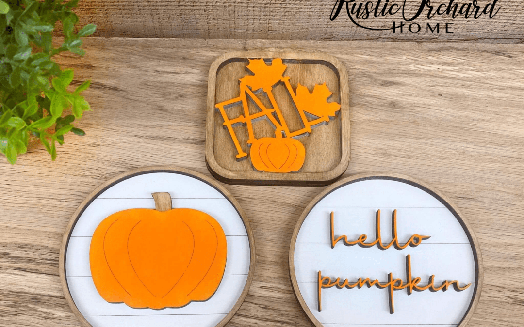 "Make your own tiered tray sign set with this ""Hello Pumpkin"" themed wood cutouts. Modern and stylish theme that fits with any fall home decor style."