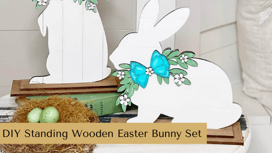 Spring décor is easy with this adorable Standing Wooden Easter Bunny Set. Just paint and add to your spring farmhouse home!