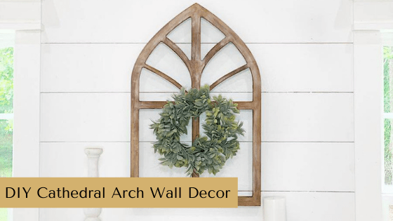 This DIY Cathedral Arch Wall Décor idea is totally customizable! Just grab the blank wooden arch cutout and your favorite paint.