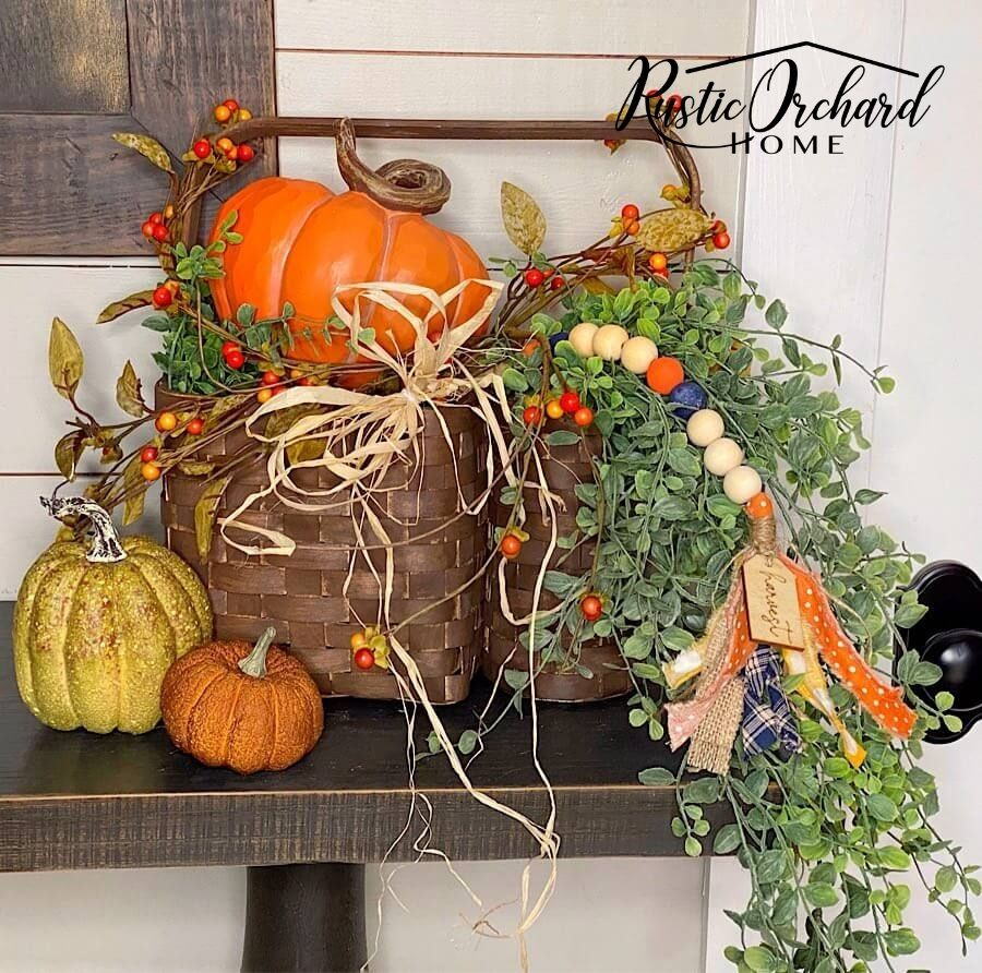 You're going to love this Fall Basket Makeover Idea! Repurpose those old baskets into beautiful décor with my affordable tips & tricks.