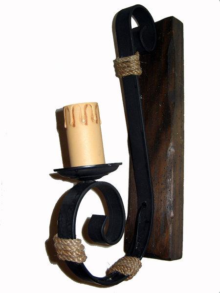 Rustiluz Aplique de 1 luz forja madera vela