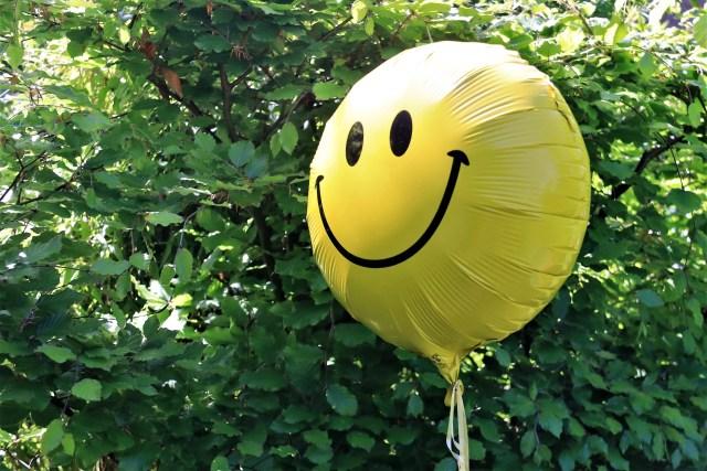Smiley ballon voor een groene haag - Rust in mijn hoofd coaching