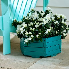 Paint For Adirondack Chairs Tall Vanity Chair Spray Painted Dark Turquoise Wooden Hexagon Planter
