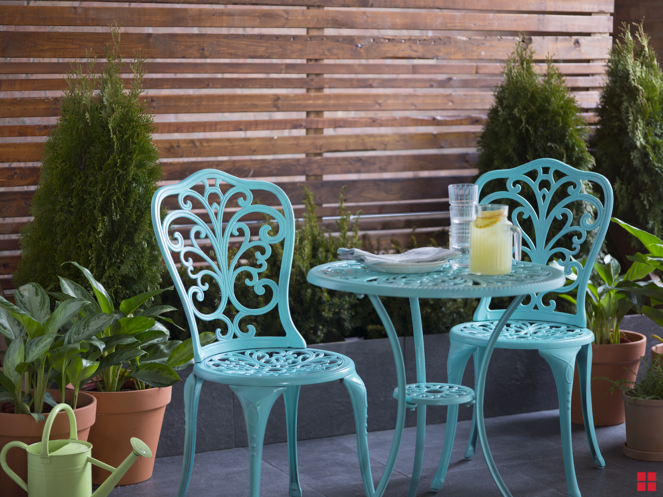 turquoise patio chairs ikea dining table outdoor set refresh bistro